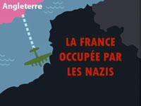 Avion survolant une carte, allant de l'Angleterre vers la  France occupée par les Nazis