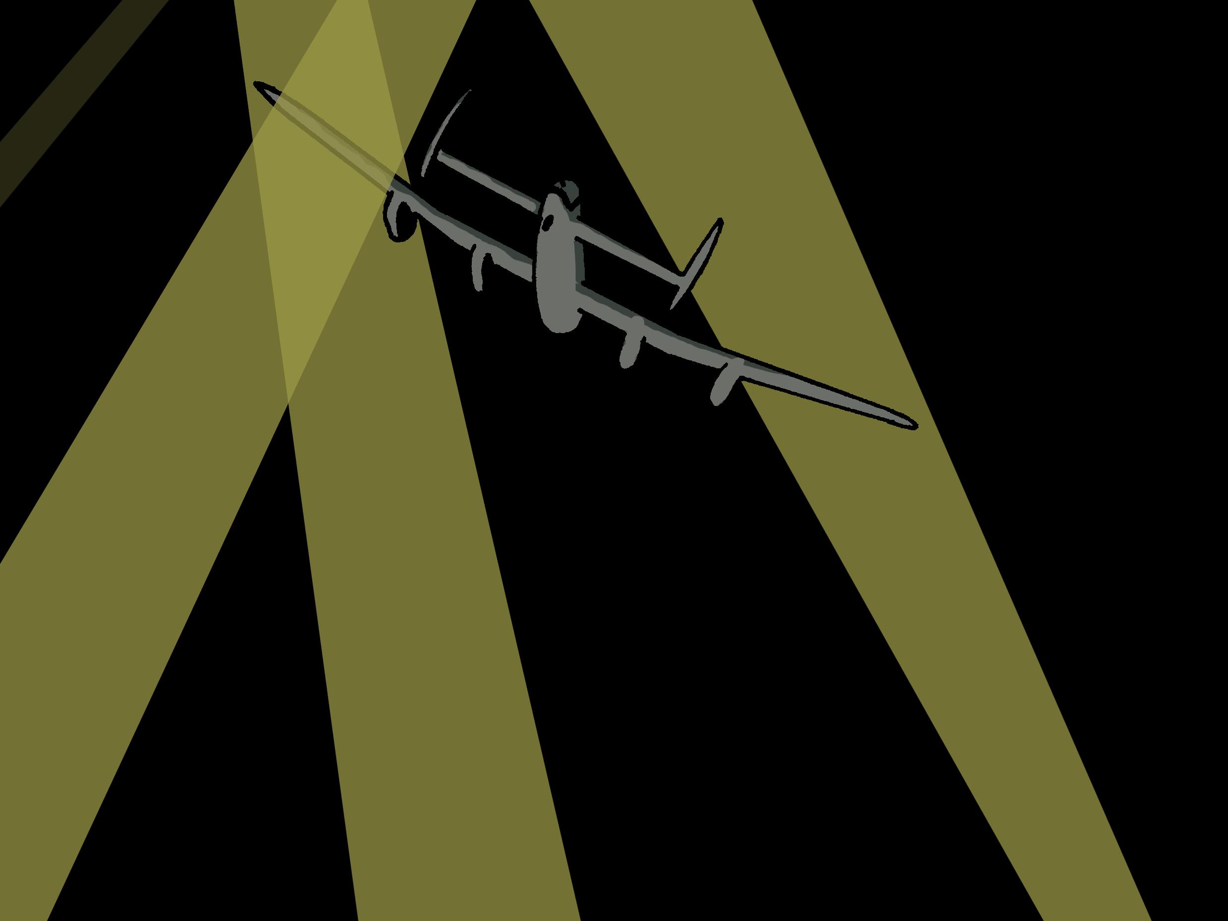 Projecteurs lumineux dirigés vers un bombardier