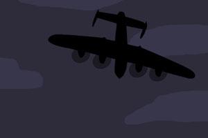 Silhouette d'un avion vue d'en bas
